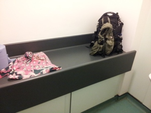 Lots of space and surfaces in the designated baby change room at The Geffrye Museum