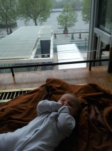 Dot about to have her nappy changed on the floor at The Southbank Centre; so much easier when I don't have to gather everything up and schlep to a loo.